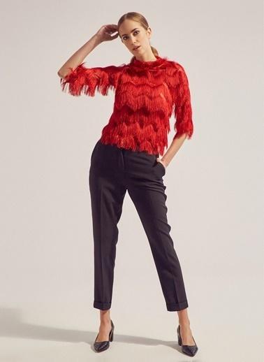 Monamoda Floş İplik Saçaklı Bluz Kırmızı